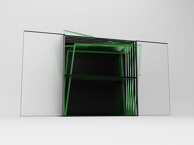 The draft Cabinet of the future v.4 illustration ru blender green model cg modeling 3d abstract design art