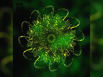 Planktonic poster illustration green blender model cg modeling 3d abstract design art