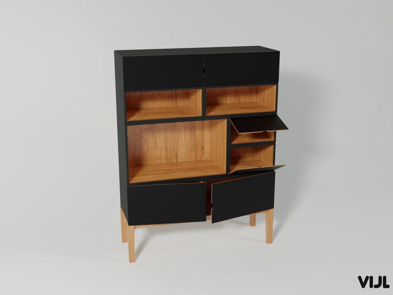 Cabinet design development modeling 3dmodeling 3dmodel 3d art renders render woods wood black blender 3d blender interior development ui 3d design art