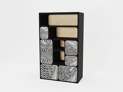 Prototype Cabinet with illustrations v.1 art wood blender render 3d