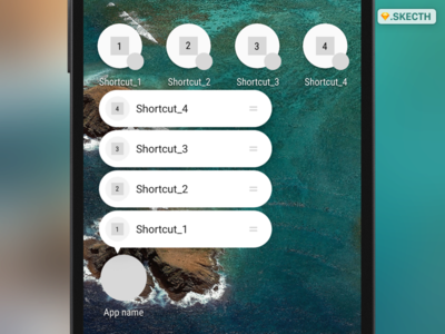Android-N Shortcuts template gui shortcuts interface free template nougat android sketch