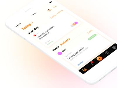 Zeus App (Team&Project management app) tracking schedule project-management minimal management iphone ios interface design concept apple app