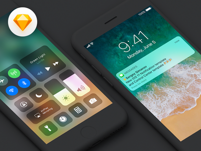 iOS11 Notification & ControlCenter template for iPhone7 iphone7 new kit lock screen notification freebie gui ios11 sketch template