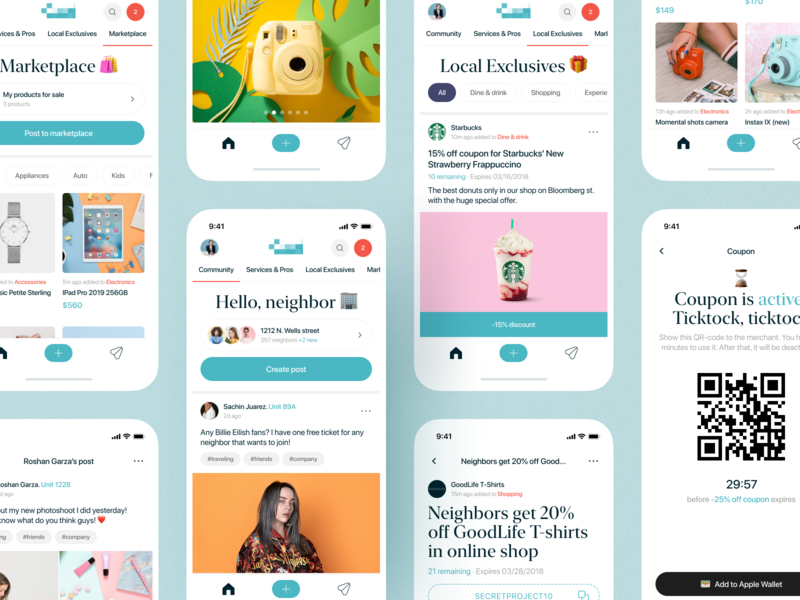 Neighbors community IOS app posts social network social app ios app minimalism minimal figmadesign figma coupon shop ecommerce background green app design 2d app screen ux ui design