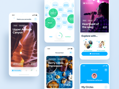 Circles IOS app. Enjoy events with circles of friends ios 14 photo network social booking app booking event event app iphone-x interaction app blue typography invite screen ux ui design