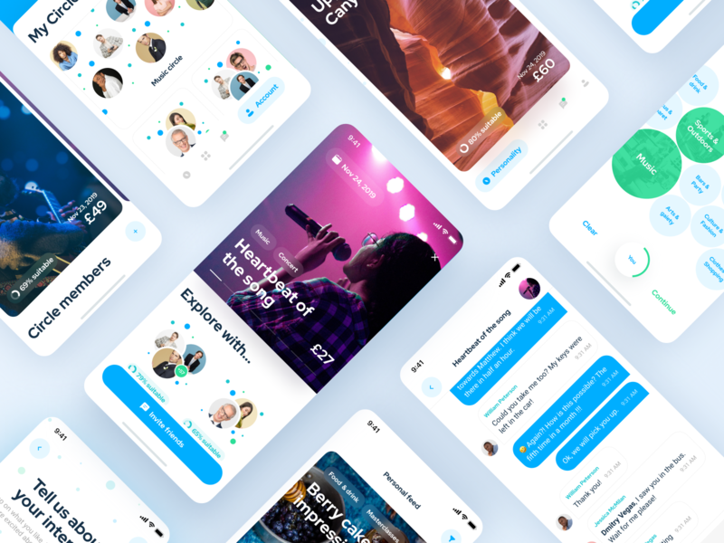 Circles IOS app. Enjoy events with circles of friends menubar icons icon colors events app ios14 social network social booking event iphone-x interaction app blue typography invite screen ux ui design