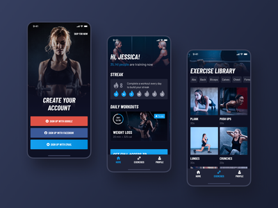 30 Day Fitness Challenge App Redesign. Main screens sign in signup button interaction design interface ios14 color logo fitness app fitness interaction app blue typography invite screen ux ui design