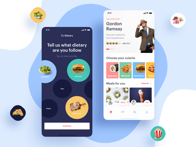 Local Food Experiences App mobile ui mobile app product mobile photos icons restaurant app delivery app food app ios invite interaction app blue typography screen ux ui design