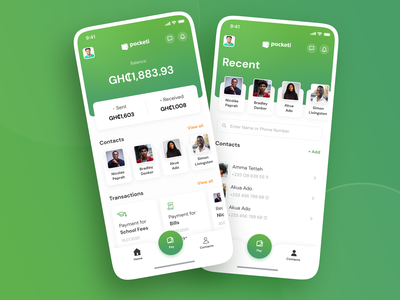 Pocketi. Online payments app mock-up iphone fintech app fintech wallet app wallet ui money transfer money app payment app payments bank app banking green invite typography ux ui design