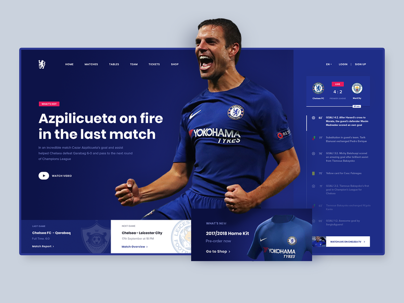 Chelsea FC. UI redesign concept news feed news interaction design typography blue screen design football ux ui sport