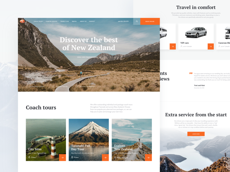 WithersCoachlines. Trips booking website travel landing tickets booking interaction typography invite screen design ux ui