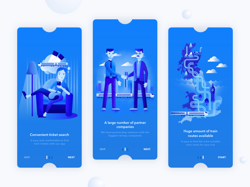 Kaola. App onboarding  with illustrations typography invite iphone-x icon illustration screen blue train booking tickets app ios design ux ui