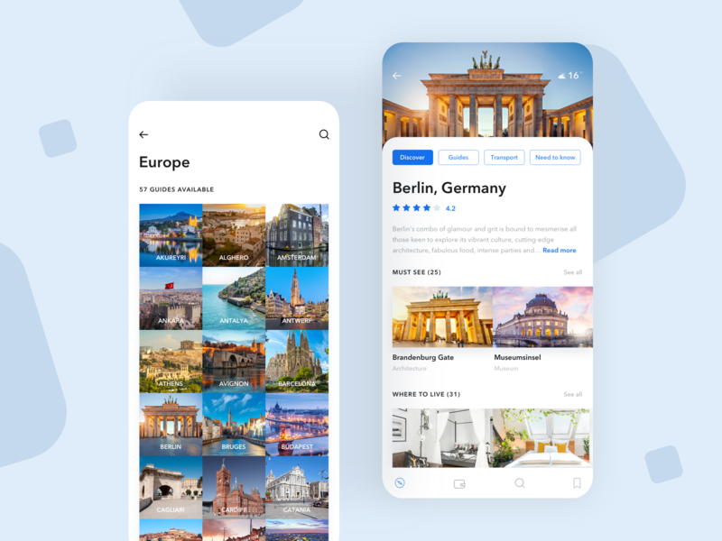 Traveler guide app UI design app invite travel app guide travel iphone-x ios interaction booking tickets typography blue screen design ux ui