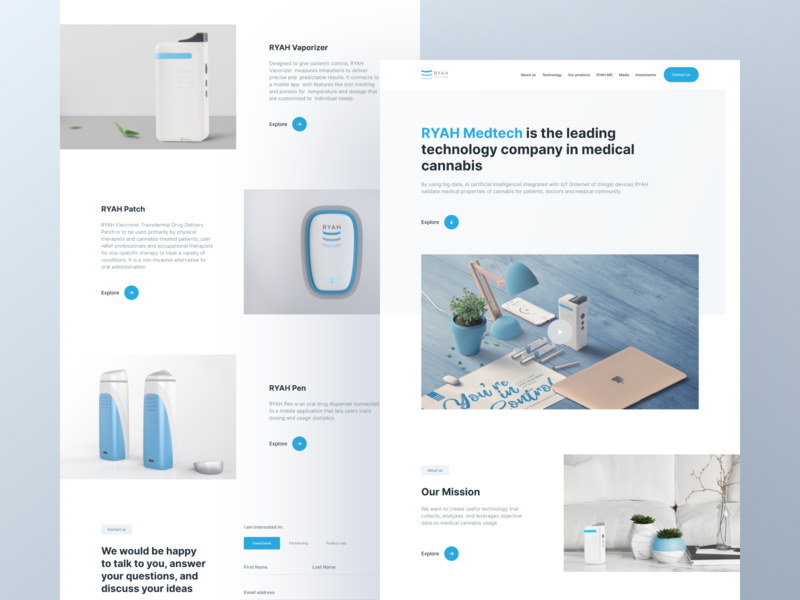 RYAH. Corporate website homepage interface clean concept website design web design corporate design website invite illustration interaction typography blue screen ux ui design