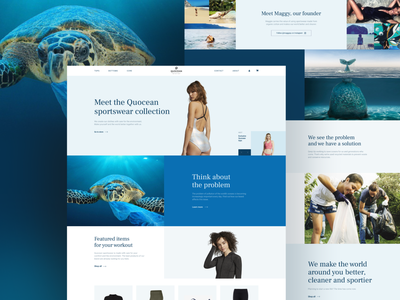 Quocean. Eco-friendly sportswear website. V2 animals shadow sportswear ecological website design website ecommerce design fashion fashion brand shopping ecommerce shop ecommence typography blue invite screen ux ui design