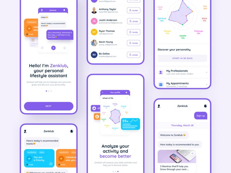 Zenklub. Lifestyle assistant chatbot app icon ios app android app ios psychology meditation health app design chatbots chatbot purple illustration iphone-x app typography invite screen ux ui design
