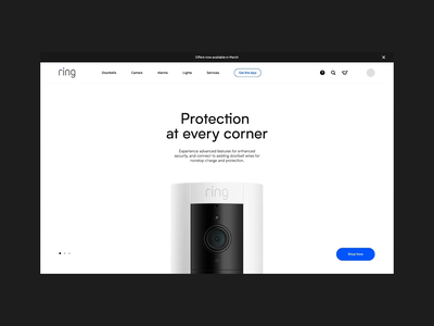 Ring Homepage online store products ecommerce motion ui web animation design