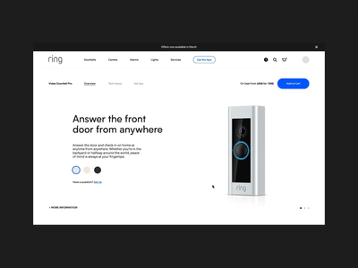 Ring Product Detail Page store ecommerce 3d product website interactive ui motion web animation design