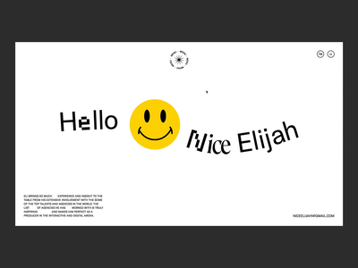 Hello Nice Elijah branding typography landing website illustration portfolio interactive motion ui web design