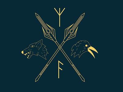 The mark raven wolf norse mark branding digital art line art