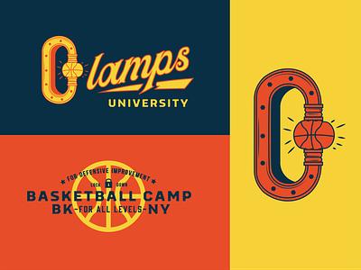 Clamps Visual Identity. sports icon logo basketball brand identity