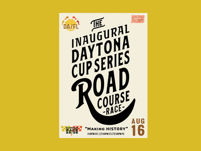 Daytona Cup Series Road Race nascar racing motorsport poster vector illustration customtype custom lettering