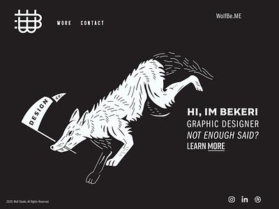 WolfBe.Me-Dribbble Playoff redesign concept homepage web design monogram letter mark line art illustration digital art