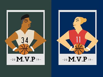M.V.P'S trading cards illustration digital art basketball