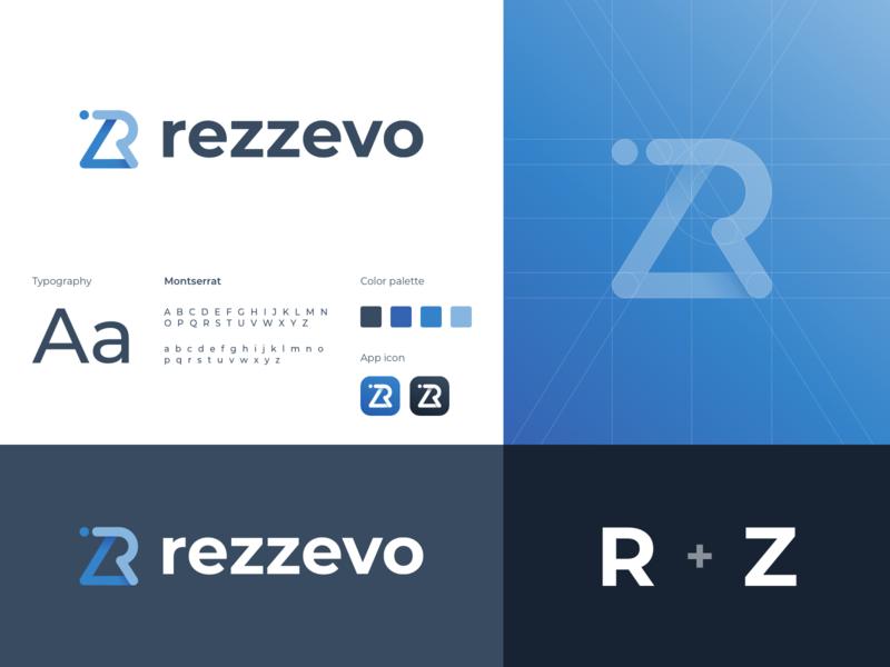 Logo Rezzevo blue grid logo grid branding logo design vector ux ui