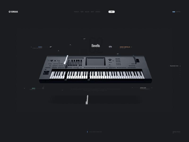 Yamaha parallax web site yamaha layout illustration prototyping design