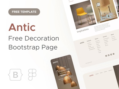 Antic • Decoration Landing Page antic decoration design furniture landing onepage figma bootstrap carousel ui mobile desktop ecommerce agence dnd responsive website