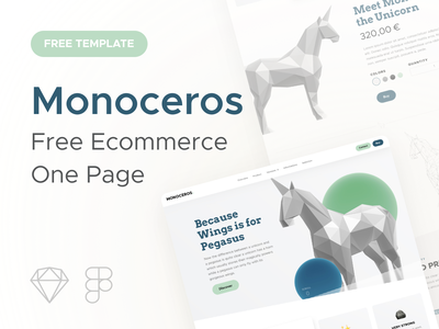 Monoceros • Ecommerce One Page Template monoceros unicorn ecommerce onepage template free freebies ressource sketch figma agence dnd product page glassmorphism drop shadow gumroad ui design download