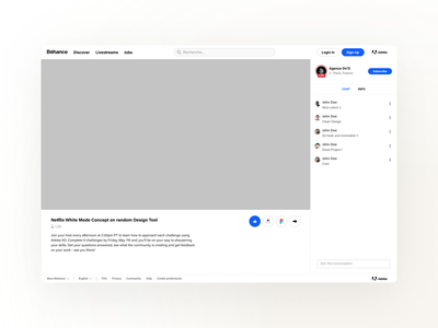 Behance • Livestream Mockup free behance project profil user desktop sketch figma ressource template mockup freebies uiux uidesign agence dnd