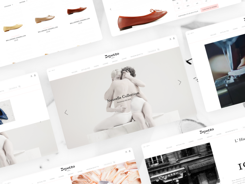 Repetto Website classic dance shoes responsive ui front end ecommerce dnd agence magento repetto screen