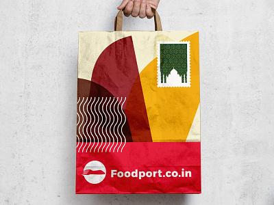 Foodport Bag Design delivery food startup india gurgaon logo branding brand foodport
