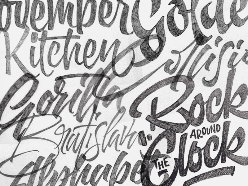 Lettering sketches typography brush script lettering logo type bruslettering