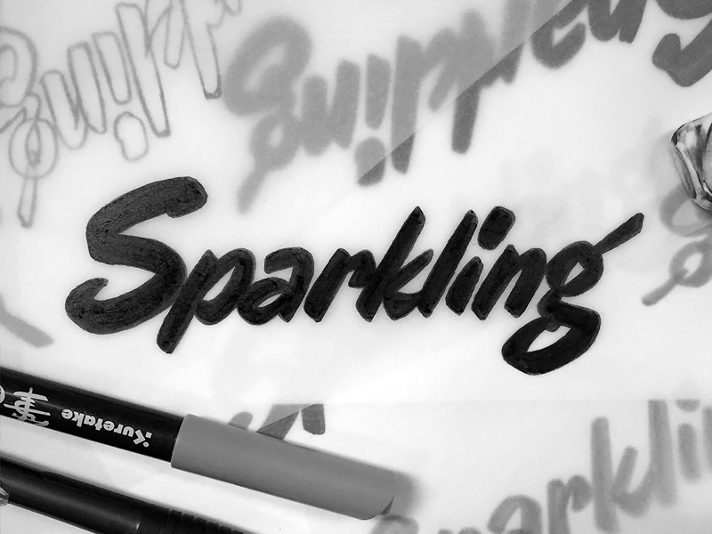 Sparkling script type typography lettering