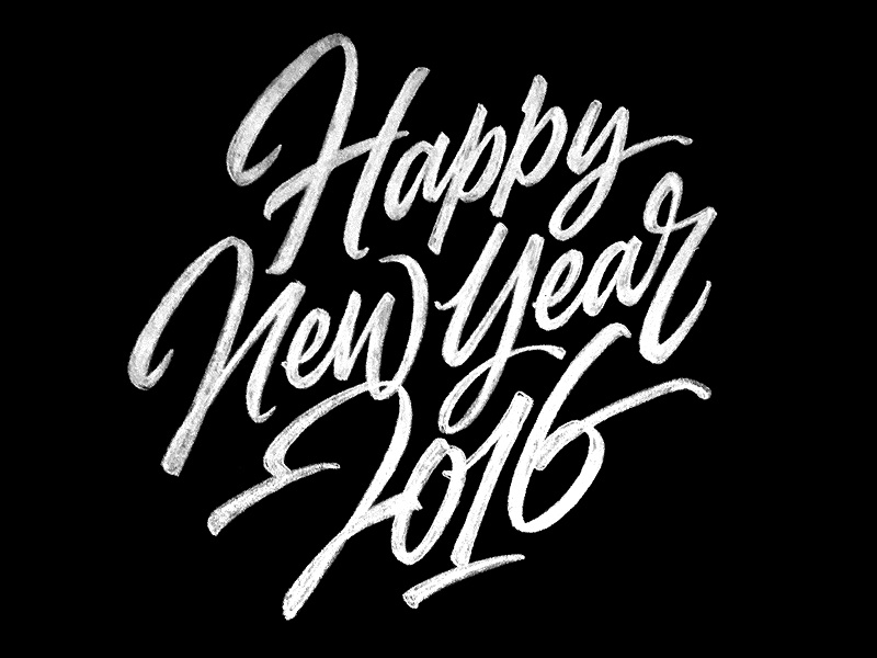 Happy New Year -lettering lettering type script brush typography