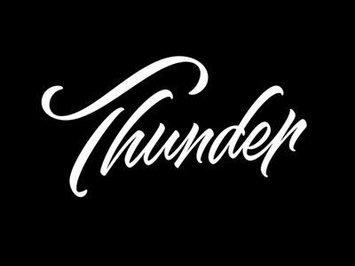 Thunder - lettering lettering type script brush typography
