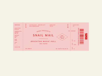BSDS Challenge No. 6: Music + Faune type challenge concert snail mail print music ticket typography thunderdome bsds