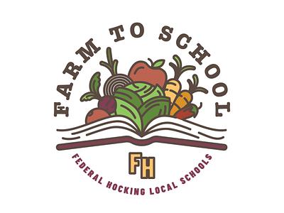 Farm to School Logo vegetables veggies school farm