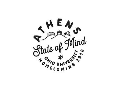 Athens State of Mind - Ohio University Homecoming 2018 campus badge logo college bobcats athens ohio ohio university