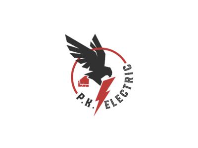 PK Electric badge logo badge lightening bolt lightening electrician electric hawk redtail