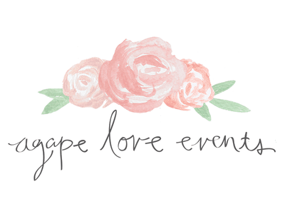 Agape Love Events Logo whimsical peonies watercolor hand lettering logo