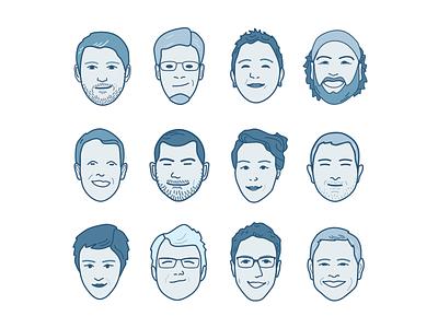 Co-worker Cartoon Faces blue illustration cartoon faces