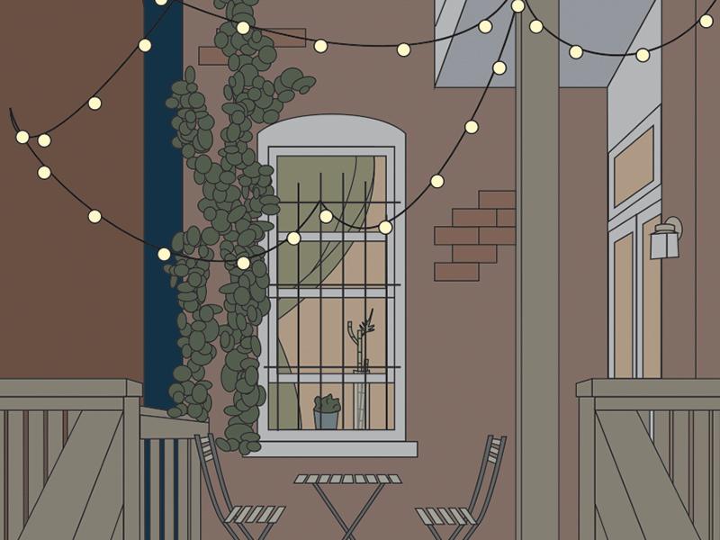 My Back Porch string lights nighttime porch home illustration