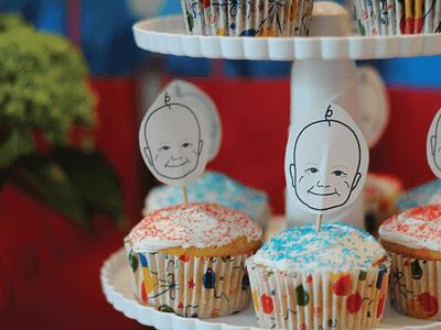 Baby Birthday Cupcakes avatar party baby cupcakes birthday illustration