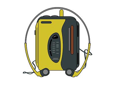 Walkman, my old friend walkman 90s technology illustration