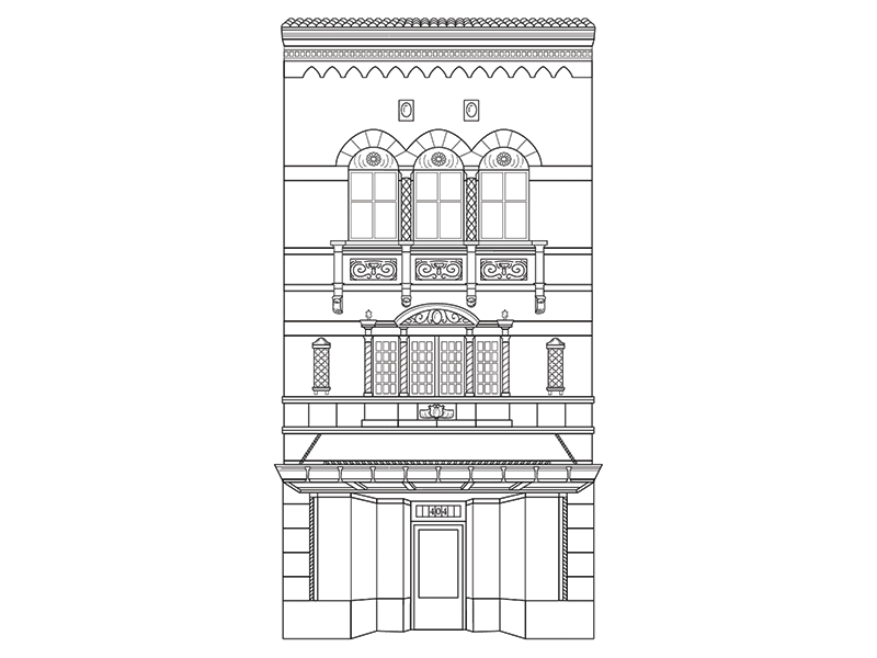 404 E Grace St line drawn black and white building illustration