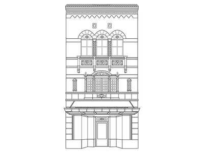 404 E Grace St line drawn black and white building illustration